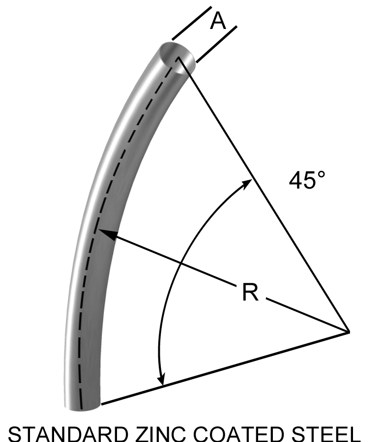 45° Long radius bend duct