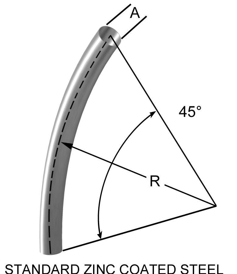 45° Long radius bend duct
